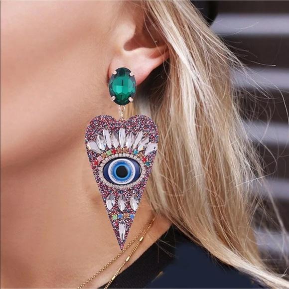 Brandy Melville Jewelry - New Trendy Style✨ Boho Crystal Evil Eye Earrings